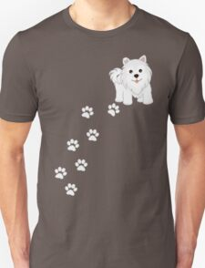 Cute Little Samoyed Puppy Dog and Pawprints T-Shirt