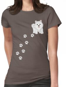 Cute Little Samoyed Puppy Dog and Pawprints Womens Fitted T-Shirt