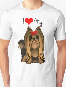 Cute Long Hair Yorshire Terrier Puppy Dog Unisex T-Shirt
