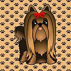Cute Long Hair Yorshire Terrier Puppy Dog by ArtformDesigns