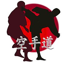 Silhouette of a Karate Fight, Japanese Flag in Background Photographic Print