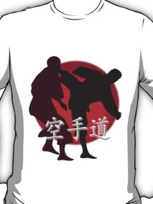 Silhouette of a Karate Fight, Japanese Flag in Background T-Shirt