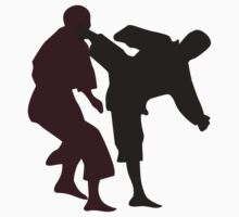 Silhouettes of Martial Artists Fighting Kids Clothes