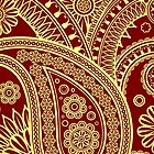 Oriental Trendy Persian Paisley Red, Yellow by sitnica
