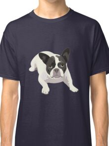 Black and White French Bulldog - Vector Art Portrait Classic T-Shirt