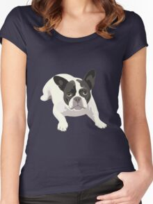 Black and White French Bulldog - Vector Art Portrait Women's Fitted Scoop T-Shirt