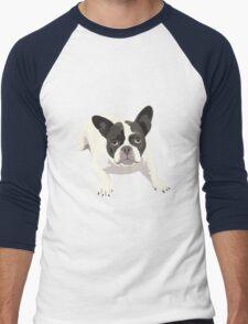 Black and White French Bulldog - Vector Art Portrait Men's Baseball ¾ T-Shirt