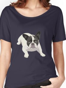 Black and White French Bulldog - Vector Art Portrait Women's Relaxed Fit T-Shirt
