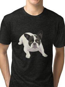 Black and White French Bulldog - Vector Art Portrait Tri-blend T-Shirt