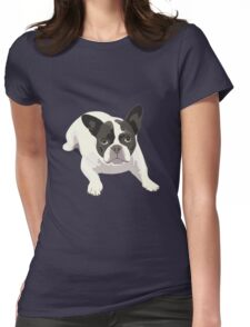 Black and White French Bulldog - Vector Art Portrait Womens Fitted T-Shirt