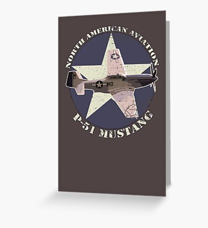 Vintage Look North American Aviation P-51 Mustang Fighter Greeting Card