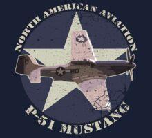 Vintage Look North American Aviation P-51 Mustang Fighter Kids Tee