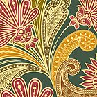 Trendy Oriental Iranian Paisley Green Yellow Red by sitnica