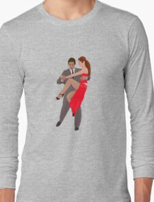 Tango Dancers with Suit and Red Dress Long Sleeve T-Shirt