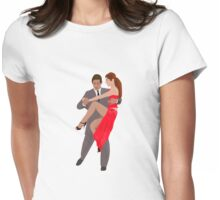 Tango Dancers with Suit and Red Dress Womens Fitted T-Shirt