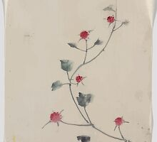 Small red blossoms on a vine 001 by wetdryvac