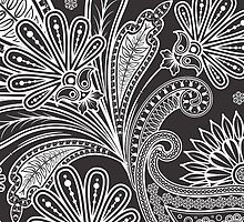 Oriental Fancy Trendy Persian Paisley Black, White by sitnica
