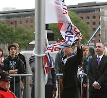 Unfurling the flag at City Hall by Keith Larby