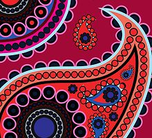Oriental Persian Paisley Flowers Red, Blue, Pink by sitnica