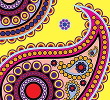 Oriental Persian Paisley Flowers Yellow, Blue, Pink by sitnica