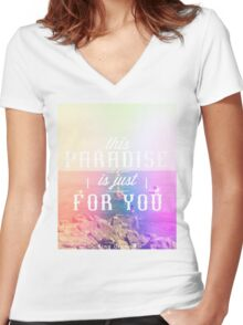 this Paradise (Tutti Frutti) Girls Women's Fitted V-Neck T-Shirt