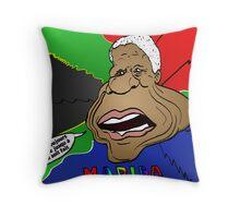 Portrait comique de Nelson Mandela Throw Pillow