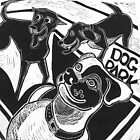 Dog Park Happy Pets Linocut by craftyhag