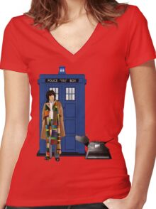 The Doctor and K-9 Women's Fitted V-Neck T-Shirt