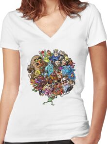 Muppets World of Friendship Women's Fitted V-Neck T-Shirt