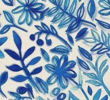 Floating Garden - a watercolor pattern in blue Sticker