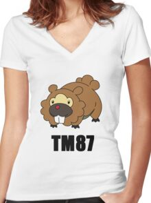 Bidoof Swagger (No Glasses) Women's Fitted V-Neck T-Shirt