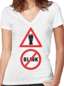 Angels Ahead, Don't Blink! Women's Fitted V-Neck T-Shirt