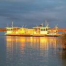 Ferry at sunset by Fizzgig7