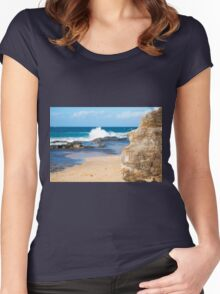 Rocks and waves at Point Cartwright  Women's Fitted Scoop T-Shirt