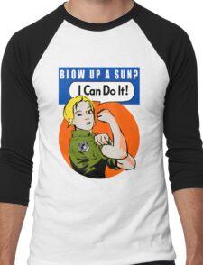 Blow up a sun? - I Can Do It! (not distressed print) Men's Baseball ¾ T-Shirt