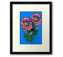✰* ★UNITED STATES PATRIOTIC ROSE PICTURE /CARD✰* ★ Framed Print