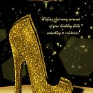 Golden Glitzy Effect Stylish Shoe Birthday Card by Moonlake