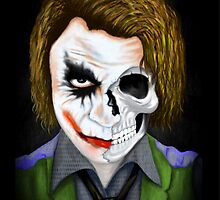 Why so serious- Joker Half Skull Drawing by homiluis