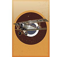 Vintage Look Nieuport fighter biplane on French Emblem Photographic Print