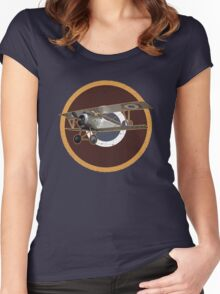 Vintage Look Nieuport fighter biplane on French Emblem Women's Fitted Scoop T-Shirt