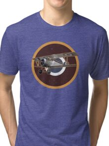 Vintage Look Nieuport fighter biplane on French Emblem Tri-blend T-Shirt