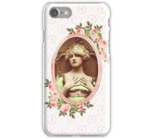 vintage retro woman floral roses pink girly iPhone Case/Skin