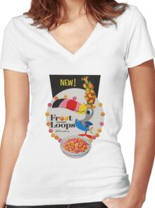 Vintage Fruit loops advertisement Women's Fitted V-Neck T-Shirt