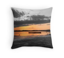 boat in the lake Throw Pillow