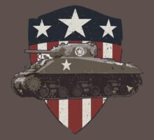 Vintage Look Sherman Tank on Captain America Style Shield Kids Clothes