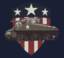 Vintage Look Sherman Tank on Captain America Style Shield Kids Tee