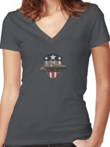 Vintage Look Sherman Tank on Captain America Style Shield Women's Fitted V-Neck T-Shirt