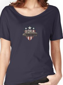 Vintage Look Sherman Tank on Captain America Style Shield Women's Relaxed Fit T-Shirt
