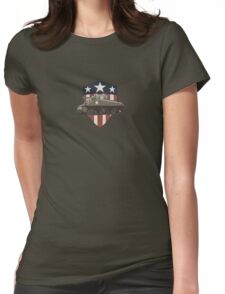 Vintage Look Sherman Tank on Captain America Style Shield Womens Fitted T-Shirt