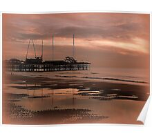 Sunset on South Pier. Poster